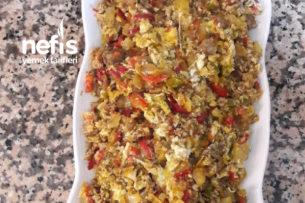 Teremyağlı Sebzeli Kavurmalı Yumurta Tarifi