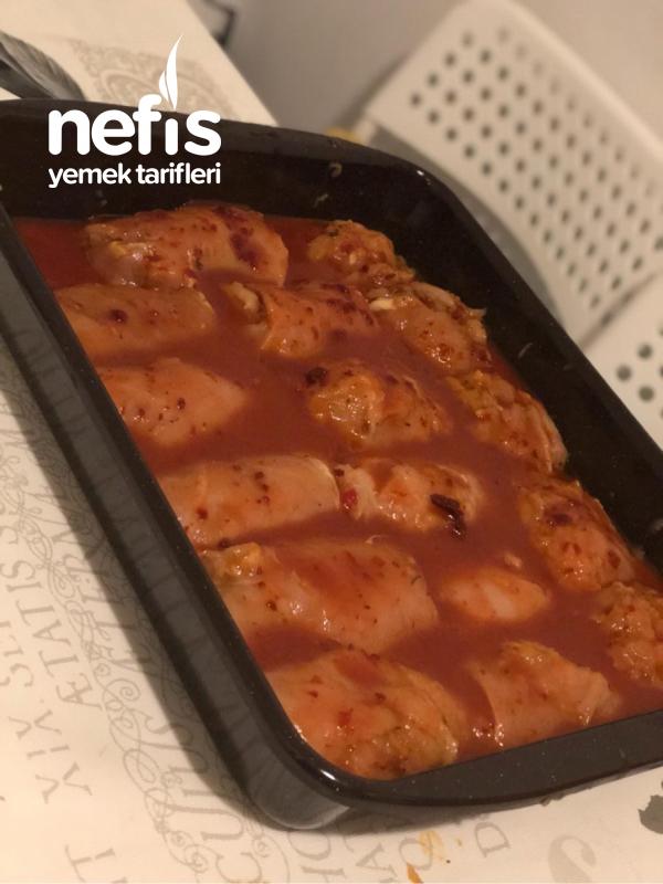 Nar Gibi Kızaran Mantarlı Rulo Tavuk Fileto (Resimli Anlatım)