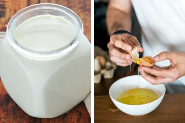 yağlı saçlar için yoğurt yumurta