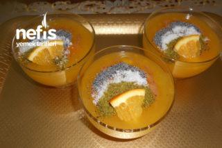 Portakal Parçacıklı Mandalina Ve Portakal Sulu Muhallebi Tarifi