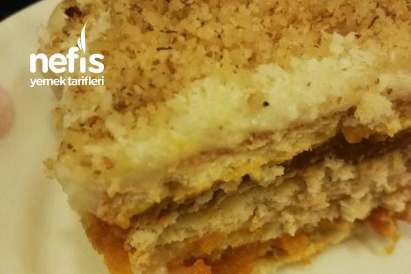 Balkabaklı Muhallebili Bisküvili Pasta Tarifi