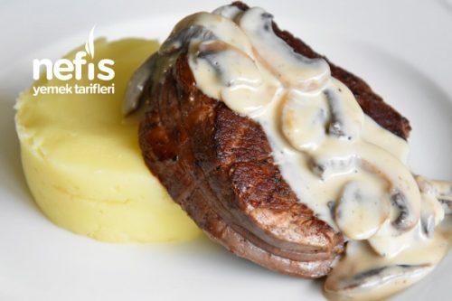 Kremalı Mantarlı Bonfile Patates Püre İle (Videolu Nefis Tarif) Tarifi