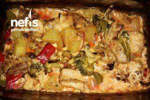 Fırında Sebzeli Kremalı Tavuk Tarifi