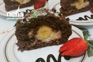 Teremyağlı Rulo Pasta ( Çikolatalı Muzlu) Tarifi