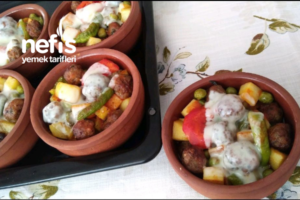 Teremyağlı Güveçte Köfteli Patates Tarifi