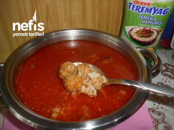 Teremyağlı Köfteli  Terbiyeli Pirinç Çorbası