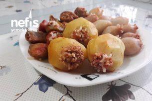 Karışık Etli Dolma (Patates, Soğan Ve Kuru Dolmalık Biber) Tarifi