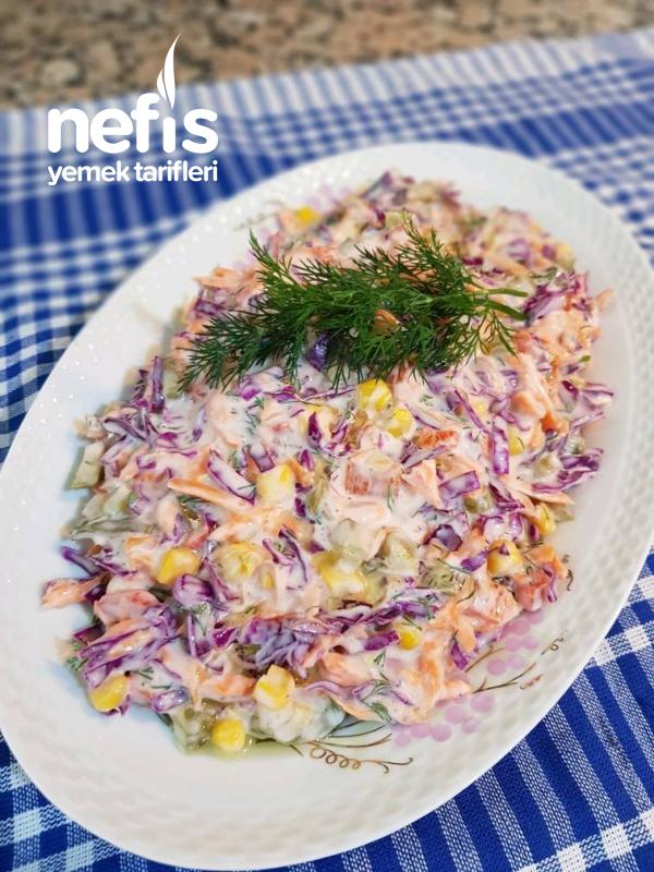 Yoğurtlu Havuçlu Mor Lahana Salatası