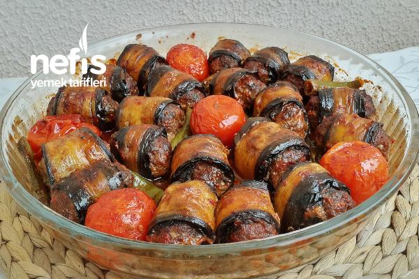 Köfteli Rulo Patlıcan Sarma Tarifi