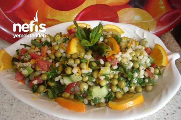 Portakal Sulu Bezelyeli Buğdaylı Salata Tarifi