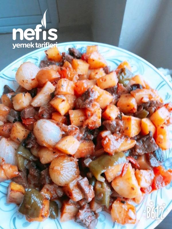 Lokum Gibi Etli Arpacık Soğanlı Patates Yemeğim Fırın Torbasında