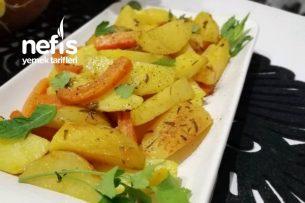 Az Yağ İle Zerdeçallı Kekikli Patates (Elma Dilimli Yapışmaz Tencerede) Tarifi