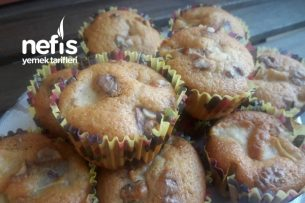 İkramlık Elmalı Cevizli Muffin (Az Miktarda Malzemeler) Tarifi