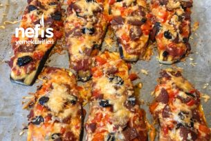 Diyet Pizza Patlıcanlı (Low Carb) Tarifi