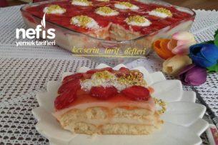 Muhteşem Çilekli Kedidili Pastası Tarifi