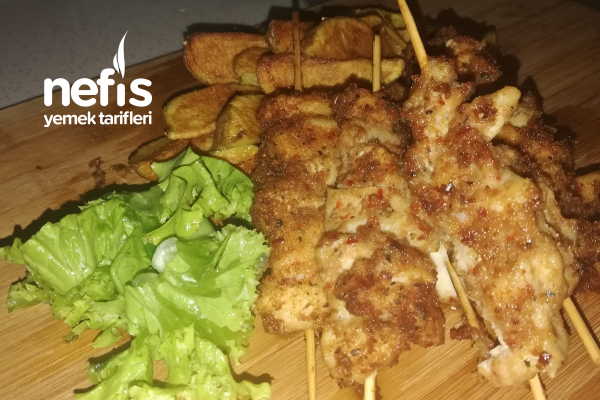 Tavuktan Midye Tava Eşliğinde Elma Dilimli Patates Tarifi