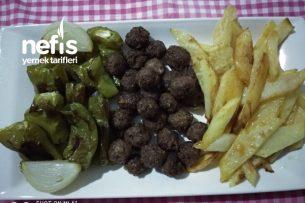 Fırında Misket Köfte (Patates Ve Biber Kızartması Eşliğinde) Tarifi