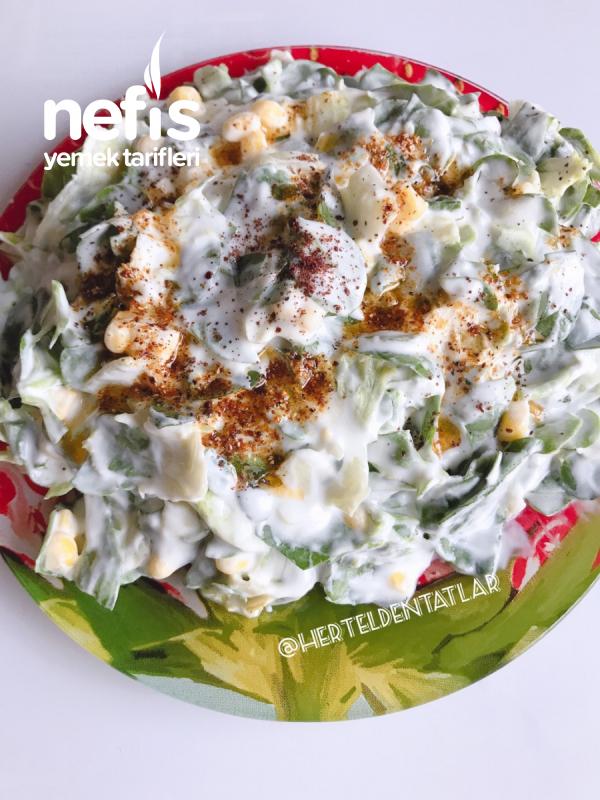 Yeşili Bol Yoğurtlu Semizotu Salatası