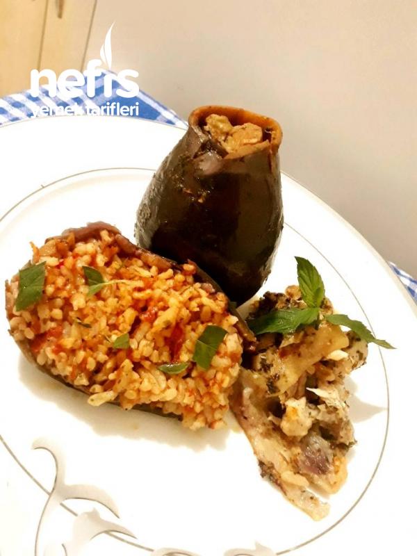 Tavukla Pişen Patlıcan Dolması (bulgurlu-pirinçli)