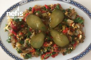 Sirkeli Köz Patlıcanlı Ve Kırmızı Biber Salatası Tarifi