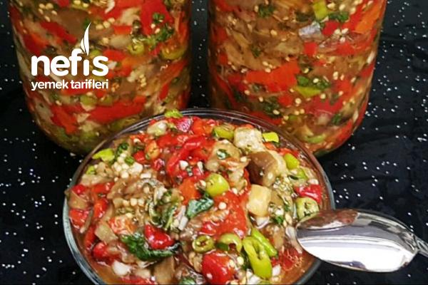 Kahvaltılık Ve Mezelik Sirkeli Köz Patlıcanlı Sos / Köz Patlıcan Turşusu (Videolu) Tarifi