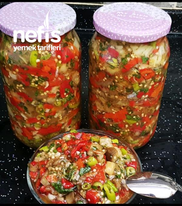 Kahvaltılık Ve Mezelik Sirkeli Köz Patlıcanlı Sos / Köz Patlıcan Turşusu