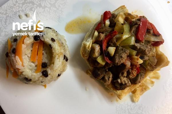 Milföy Çanağında Sebzeli Kavurma (Bardak Kebabı) Tarifi