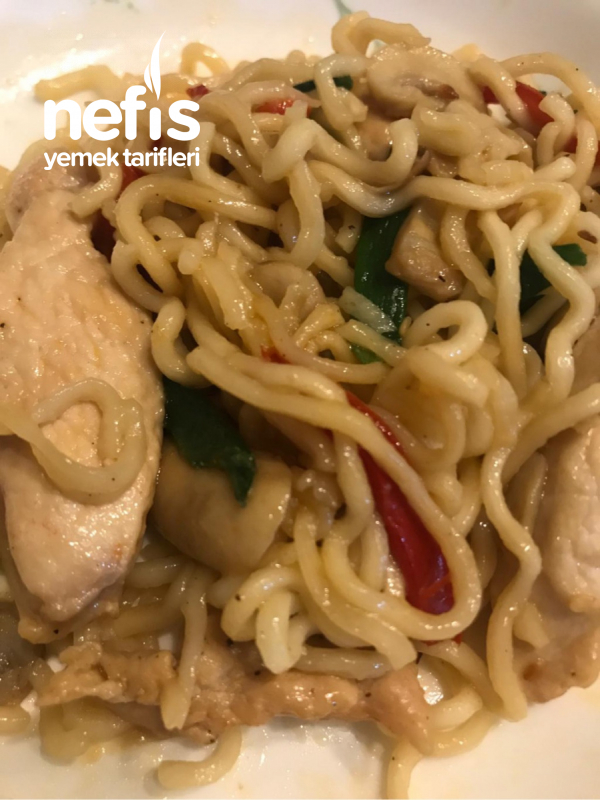 Çok Pratik Sebzeli Tavuklu Noodle ( Çin Eriştesi)