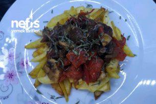Patates Kızartması Yatağında Mantarlı Et Sote Tarifi
