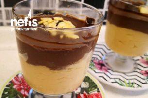 Katman Katman Lezzet Karamelli Çikolatalı Muhallebi Tarifi