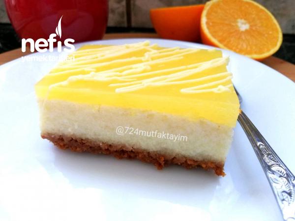 Fırınsız Cheescake görünümlü portakallı nefis tatlı