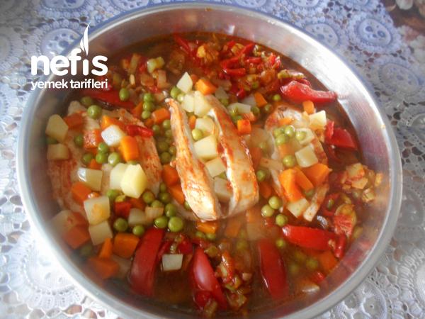 Fırında Sebzeli Tavuk Gögsü