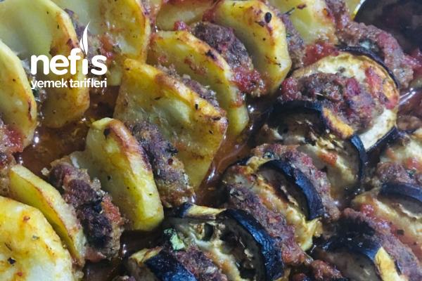 Köfteli Patlıcan Patates Dizmesi (Yumurtasız) Tarifi