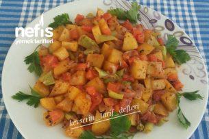 Kahvaltıya 10 Dakikada Sebzeli Patates Kavurması Tarifi
