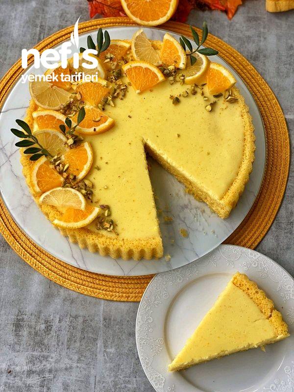 Portakalı Muhallebili Tart Kek