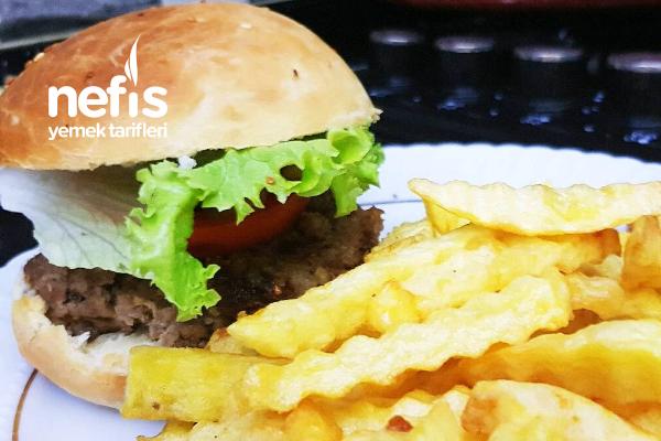 Hamburger Ekmeği Köftesi Ve Çıtır Patates (Videolu) Tarifi