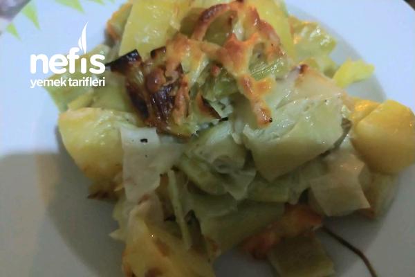 Fırında Kremalı Patatesli Pırasa Tarifi