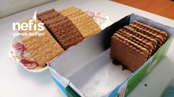 Boş Süt Kutusunda Yaptıgım Bisküvi Pastam