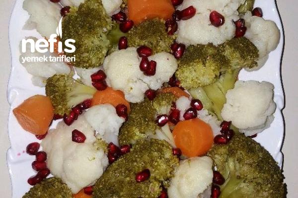Narlı Brokoli Karnabahar Salatası Tarifi