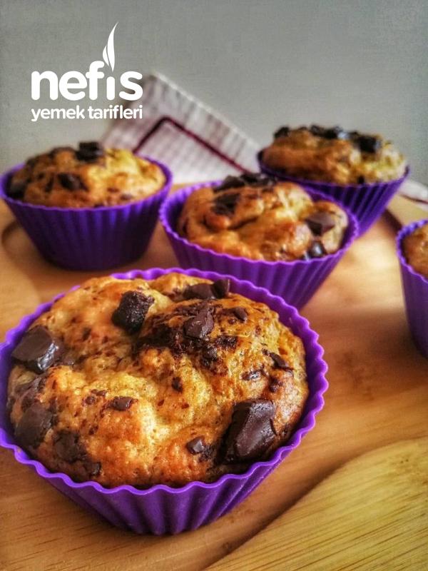 Fit Çikolata Parçacikli Muzlu Muffin