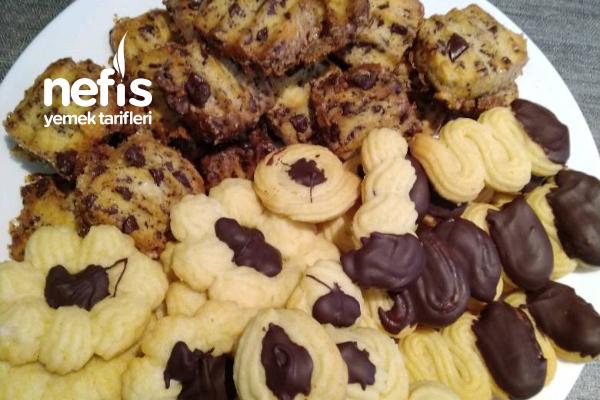 Yılbaşı Kurabiyeleri (Squeezed Cookie +Walnut Cookie +Icebox Cookie) Tarifi