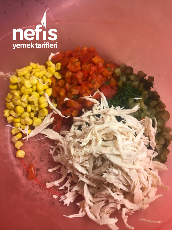 Tabak Tabak Yedirten Tavuklu Arpa Şehriye Salatası