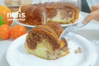 Nemli Yumuşacık Sünger Gibi Portakallı İki Renkli Kek Tarifi