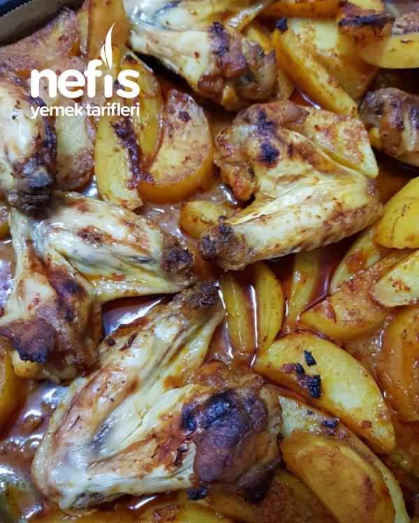 Fırında Ballı Tavuk Kanat-Patates