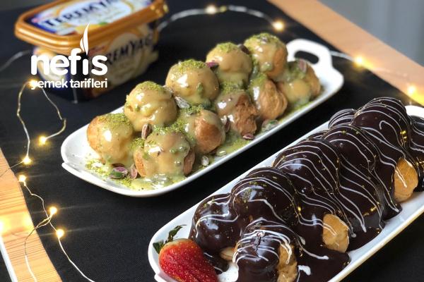 Profiterol (Beyaz Çikolatalı/Fıstıklı ve Sütlü Çikolatalı) Tarifi
