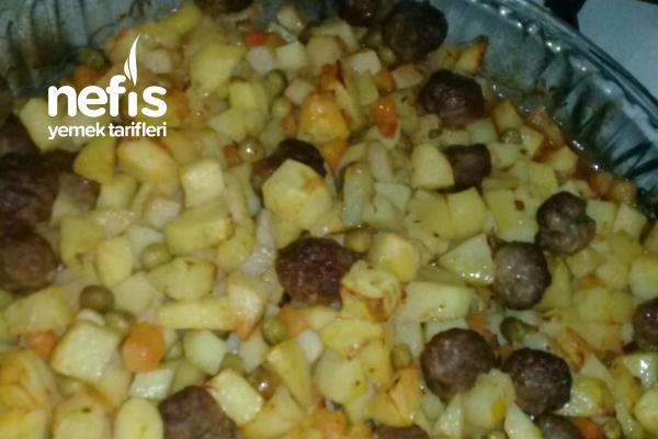 Fırında Patates Köfte (Garnitürlü) Tarifi