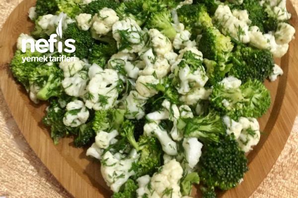 Kaşık Kaşık Yedirten Karnabahar Brokoli Salatası (Çiğden) Tarifi