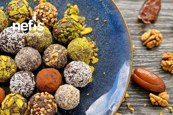 Sağlıklı Çikolata Tadında Cevizli Hurma Topları Tarifi