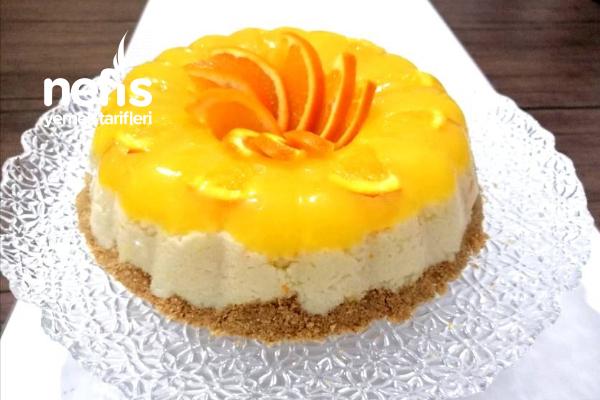 Portakallı Muhallebili Tatlı (Cheesecake Tadında) Tarifi