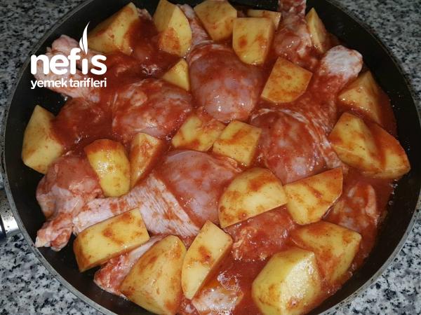 Pratik Patates Ve Tavuk Yemeği ( Tavada )